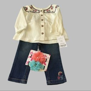 Carter's Embroidered Peasant Top & Denim Pants